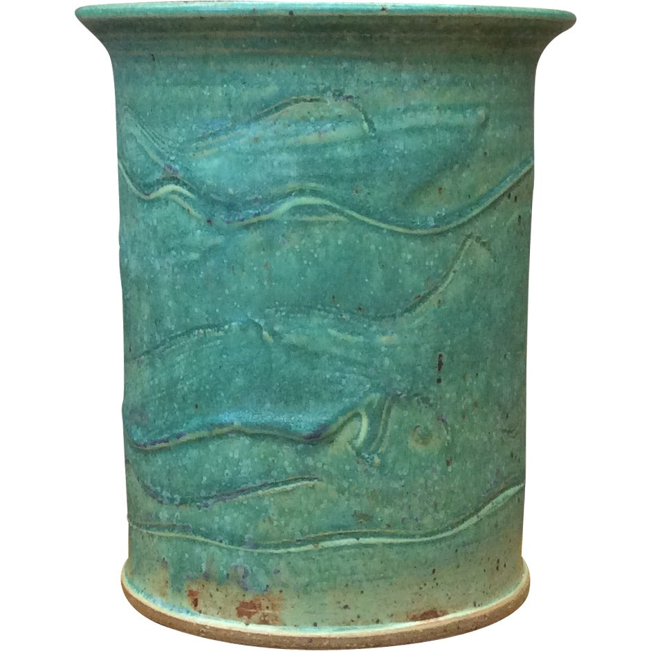 Handthrown Pottery Tall Crock Spring Green