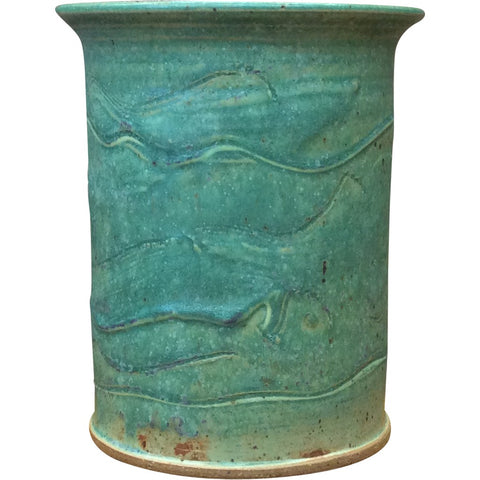 Handthrown Pottery Crock (T): Door County Spring Green