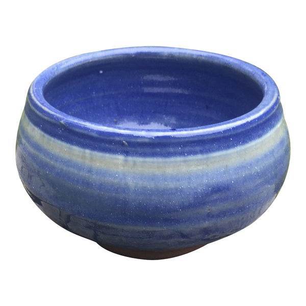 Handmade Pottery Cereal Bowl: Clear Blue