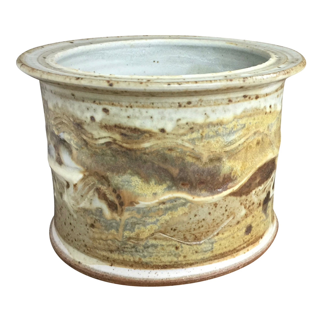 Handthrown Pottery Short Crock Summer Beaches