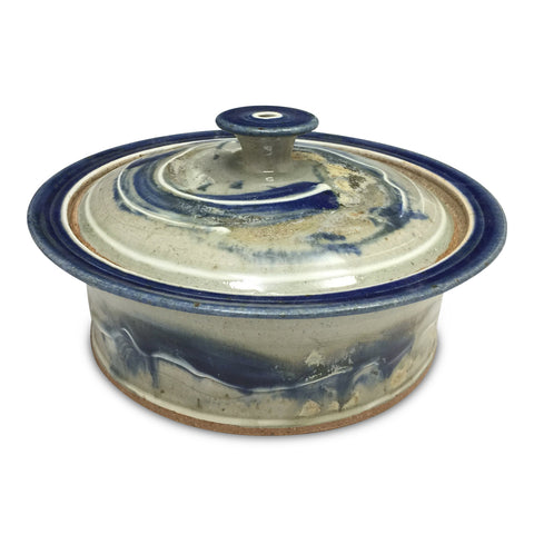 Handmade Pottery Baking Dish (L): Door County Blue