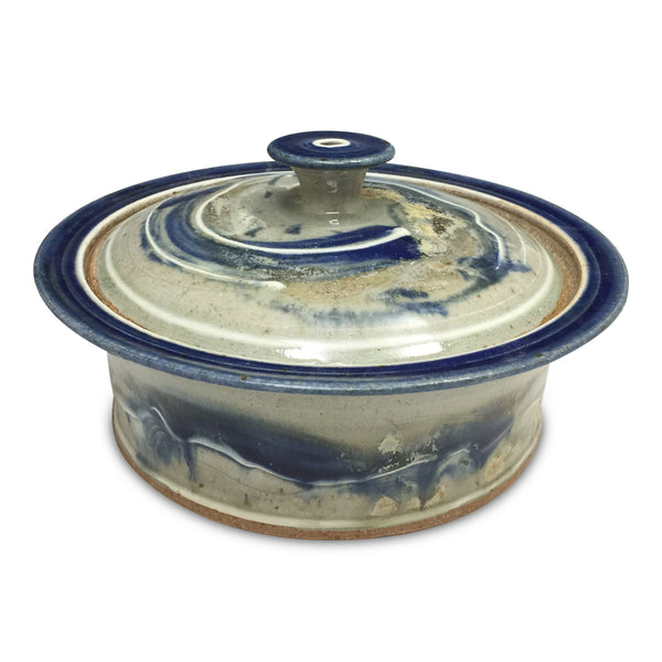 Handmade Pottery Large Blue and Gray Baking Dish