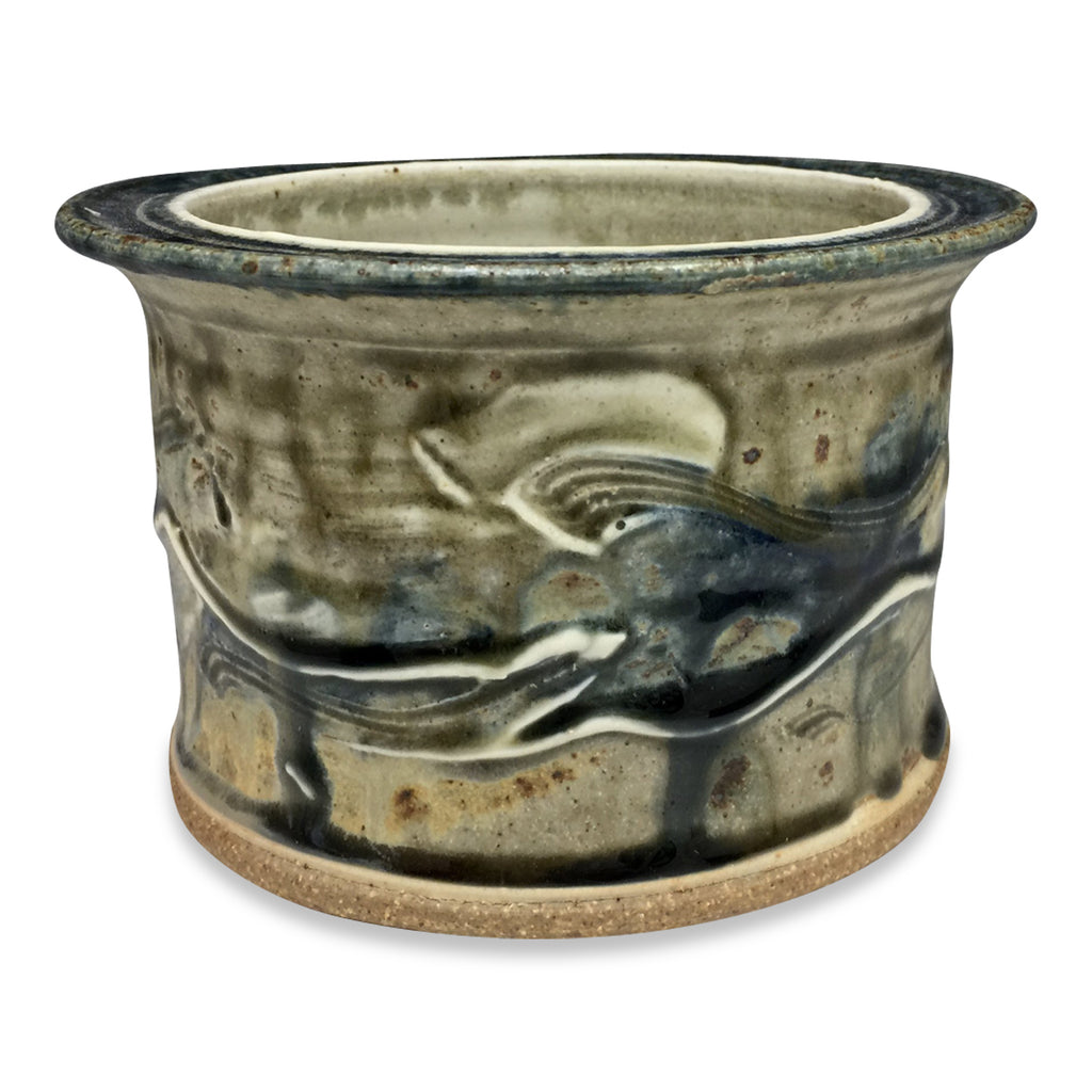 Handthrown Pottery Short Crock - Lake Michigan Blue