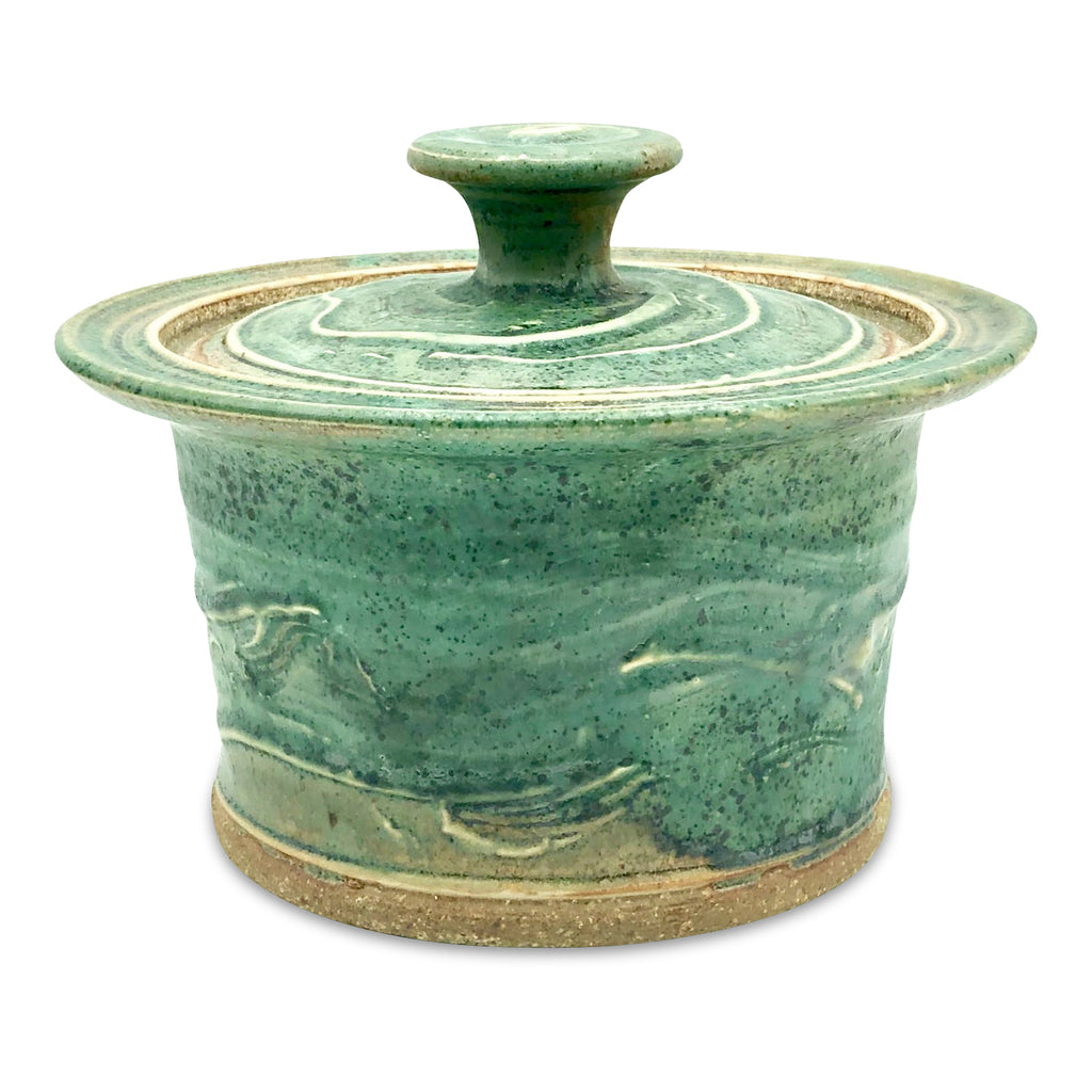 Handmade Pottery Small Spring Green Baking Dish.