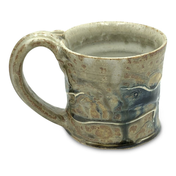 Handmade Pottery Brown and Blue Small Mug