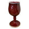 Handmade Pottery Goblet -Barn Red with Porcelain Detail