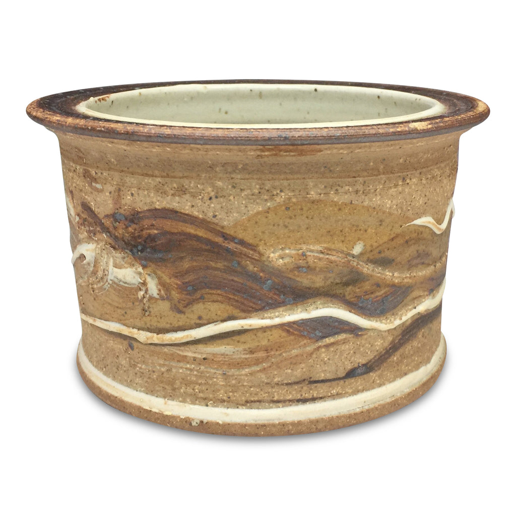Handmade Pottery Warm Browns Small Crock
