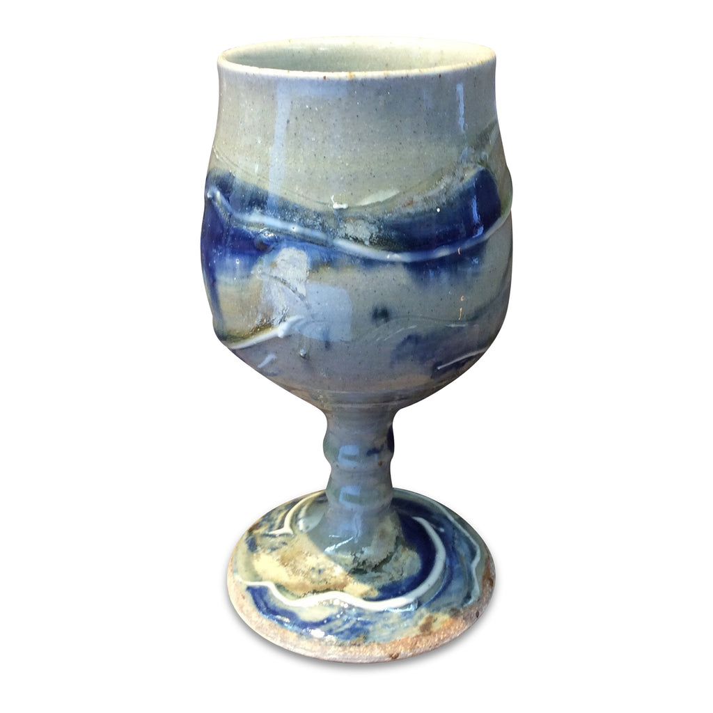 Handmade Pottery Door County Blue Goblet