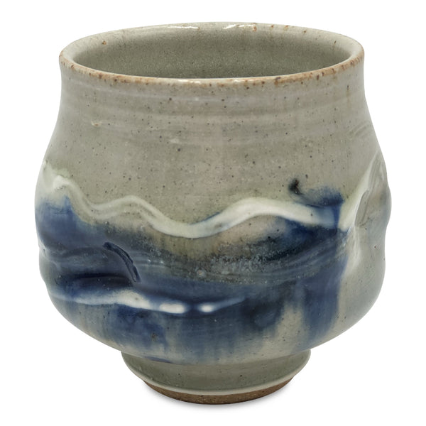 Handmade Pottery Door County Blue Tea Bowl