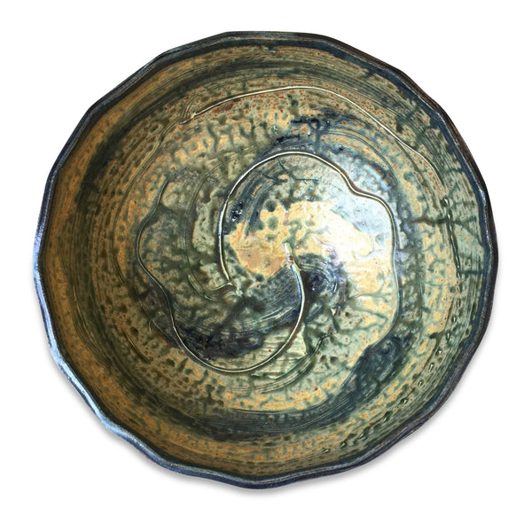 Handmade Pottery Large Green River and Blue Bowl