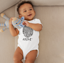 Load image into Gallery viewer, ASILI Unisex Fingerprint Babygrow - White and Black