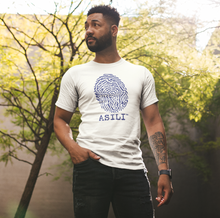 Load image into Gallery viewer, ASILI Mens Fingerprint T-Shirt - White and Navy