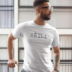 ASILI Mens T-Shirt - White and Black