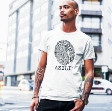 Load image into Gallery viewer, ASILI Men's Fingerprint T-Shirt - White and Black