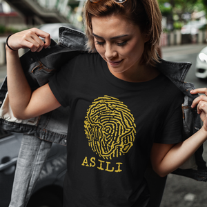 ASILI Womens Fingerprint T-Shirt - Black and Gold