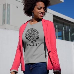 ASILI Womens Fingerprint T-Shirt - Grey and Black