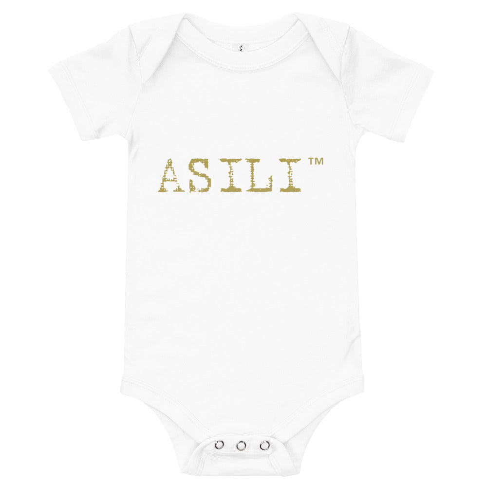 ASILI Unisex Babygrow - White and Gold