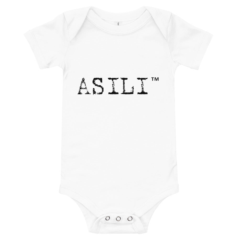 ASILI Unisex Babygrow - White and Black