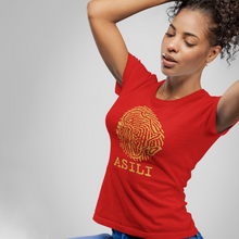 Load image into Gallery viewer, ASILI Womens Fingerprint T-Shirt - Red and Gold