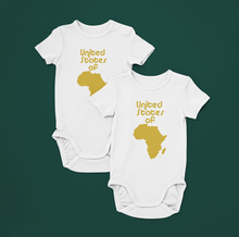 Load image into Gallery viewer, ASILI Unisex USA Babygrow - White and Gold