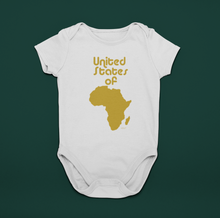 Charger l'image dans la galerie, ASILI Unisex USA Babygrow - White and Gold