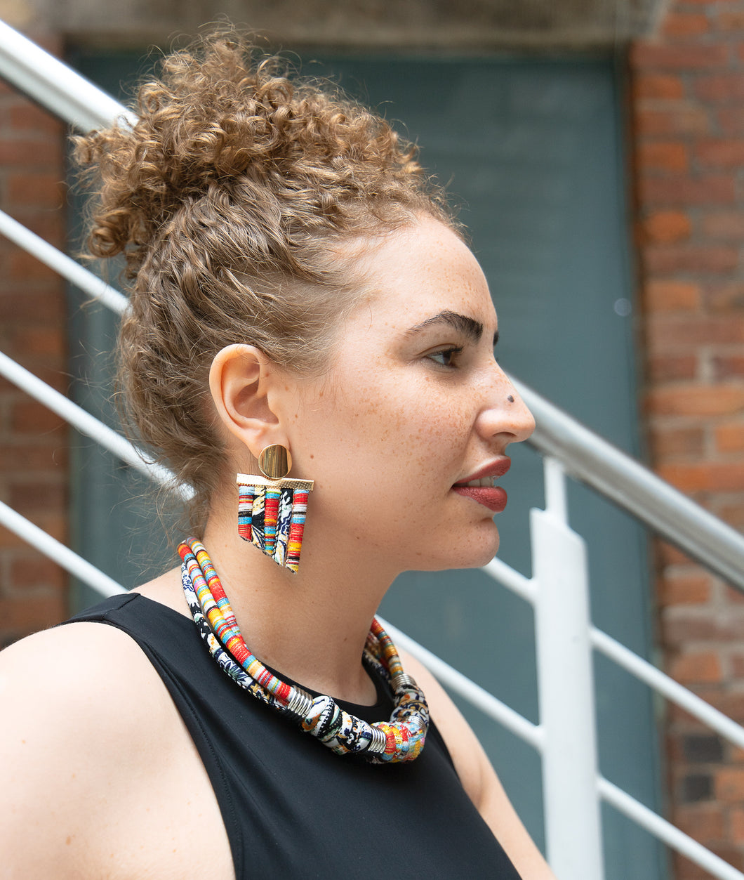 ZEAL - Multicoloured Rope Statement Necklace & Earring Set – Orange