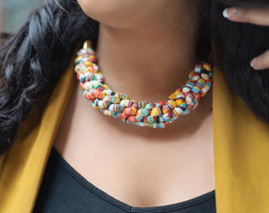 ZEAL - Multicoloured Rope Statement Necklace – Yellow