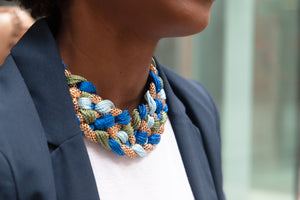 ZEAL – Blue, Green & Gold Woven Rope Statement Necklace