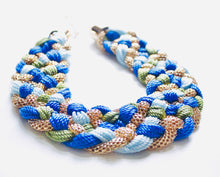 Load image into Gallery viewer, ZEAL – Blue, Green & Gold Woven Rope Statement Necklace