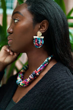 Load image into Gallery viewer, ZEAL - Multicoloured Rope Statement Necklace & Earring Set – Fuchsia