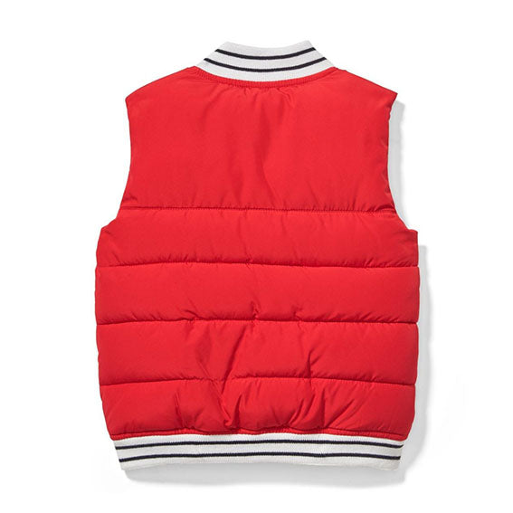Patch Puffer Vest in Red