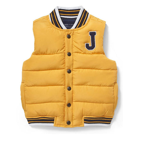 Patch Puffer Vest in Yellow