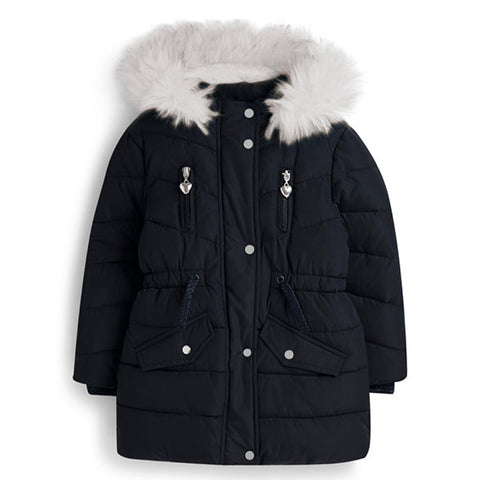 White Fur Navy Padded Parka Coat