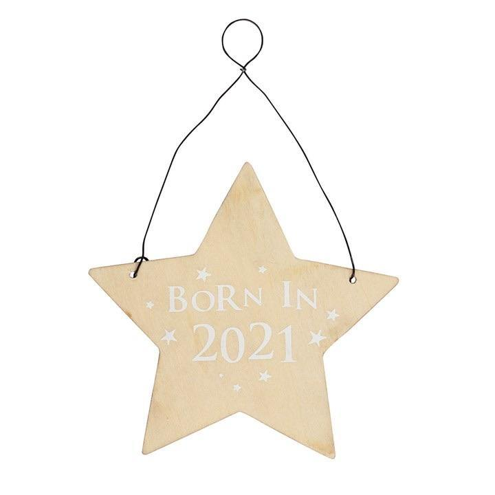 BORN IN 2021 WOODEN HANGING SIGN