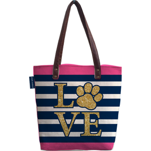 Love Paw Print Canvas Tote Bag