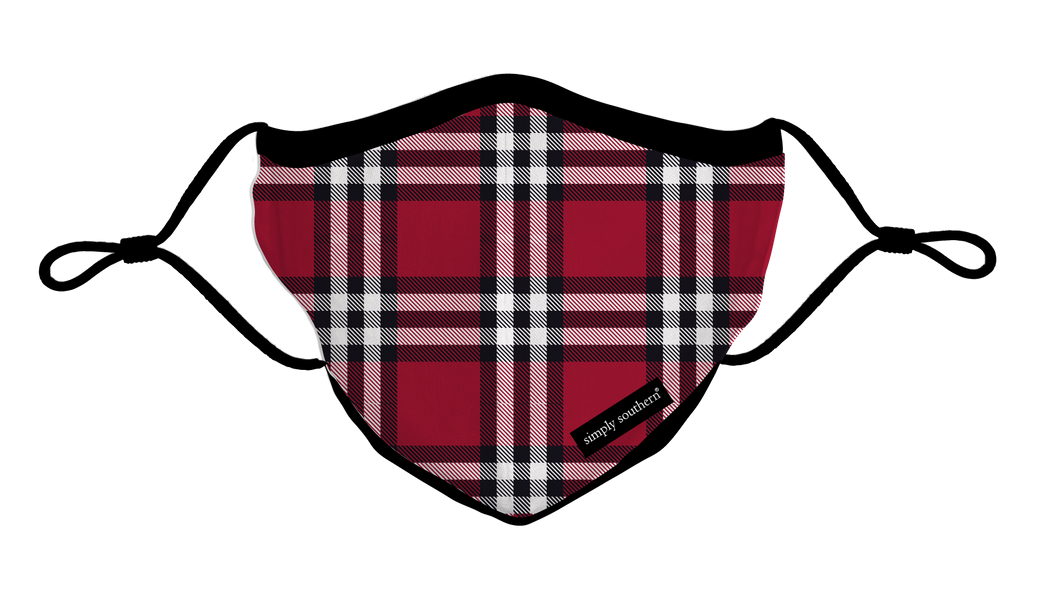 Simply Southern PLAID HOLIDAY ADULT Face Mask