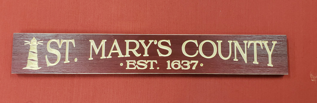 ST. MARY'S COUNTY EST. 1637 BARNWOOD SIGN
