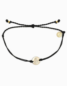 Pura Vida Gold Pineapple Coin Bracelet Black