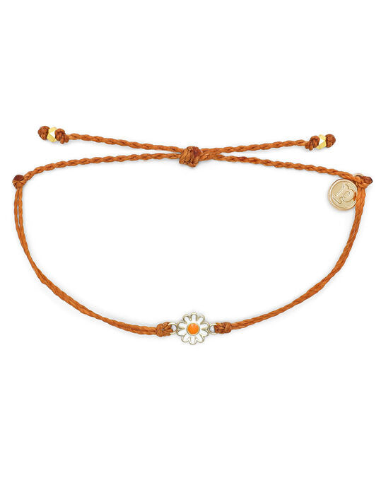 Pura Vida Gold Daisy Burnt Orange Bracelet