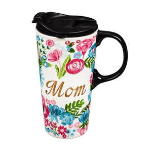 MOM Floral 17oz. Ceramic Travel Mug
