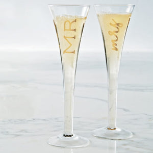 WEDDING 6 OZ MR. & MRS. CHAMPAGNE GLASS SET MUD PIE