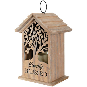 """Simply Blessed"" Wood Cutout Lantern"