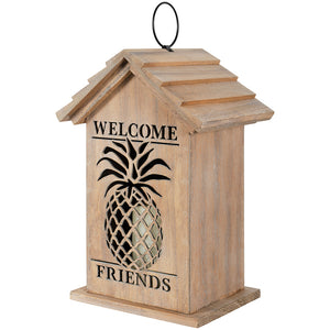 """Welcome Friends"" Wood Cutout Lantern"