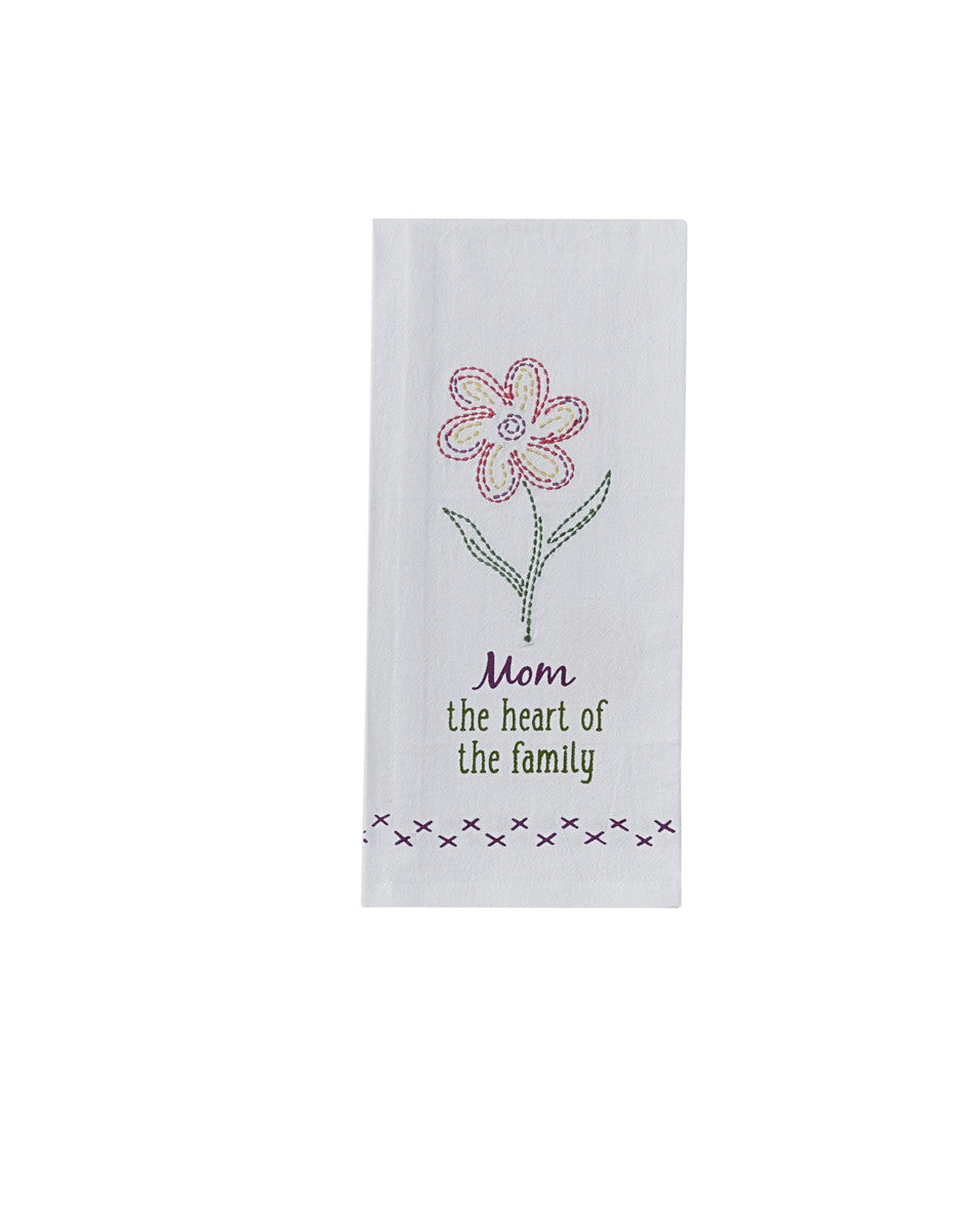 Mom the Heart of the Family Dish Towel