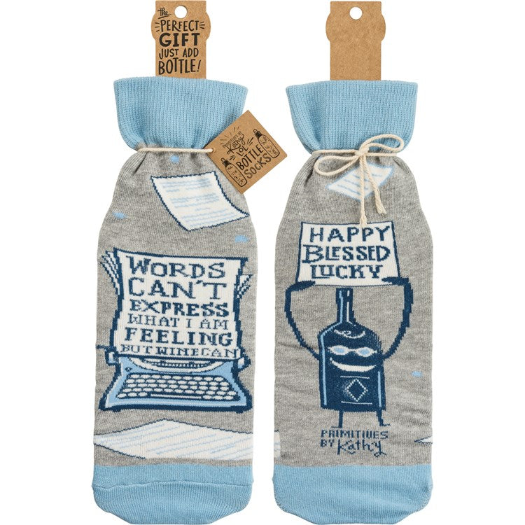 Bottle Sock - Words Can't Express Wine Can
