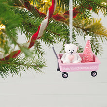 Load image into Gallery viewer, Baby Girl's First Christmas Pink Wagon 2020 Ornament