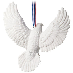 Brave and Free Bald Eagle Porcelain Ornament