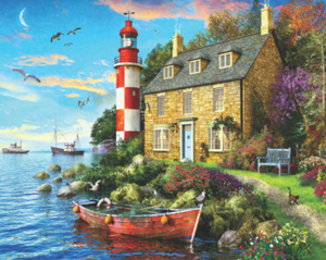 Cottage Lighthouse Springbok 1000 PC Jigsaw Puzzle