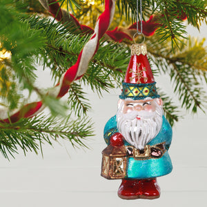 Charming Gnome Blown Glass Ornament