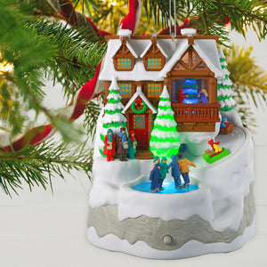 Christmas Cabin Musical Ornament With Light and Motion